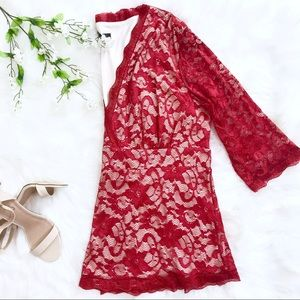 NWT Clocolor Red Lace Blouse